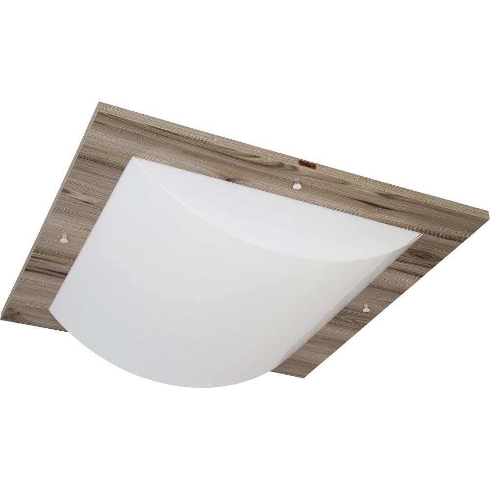 Plafon Quadratus de 50x50cm para 3 Lâmpadas 2050 - Luminárias Muller - Plafon Quadratus de 50x50cm para 3 Lâmpadas 2050 - Noce Macchiato - Luminárias Muller